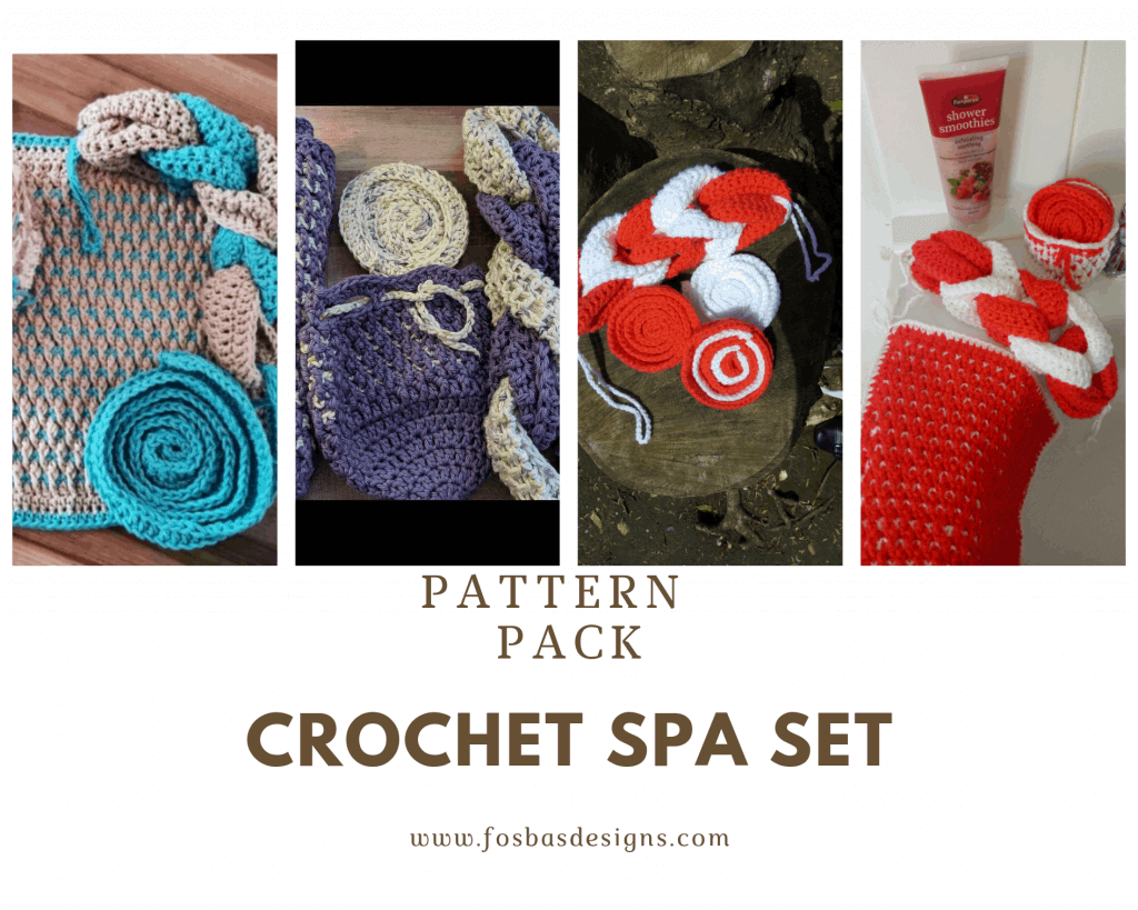 Crochet SPA Set Pattern Crochet Spa Set for Mothers day gift and to pamper your self. This set includes:  1. Loofahs 2. Wash cloth 3. Soap pouch 4.  Face Scrub. The Texture in this pattern is so beautiful