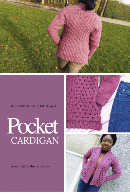 Crochet Pocket Cardigan Pattern, a size inclusive design with an easy to follow pattern. Has stitch tutorials with Video.