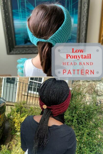 Free Crochet Patterns for a low ponytail ear warmer which can also be worn as head warmer. Pattern is written for different sizes.