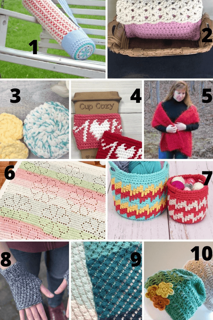 Crochet patterns to make . Pamper yourself with these beautiful crochet scarfs, Yoga bag, Cup cozy, Face scrubbier and Pouch.