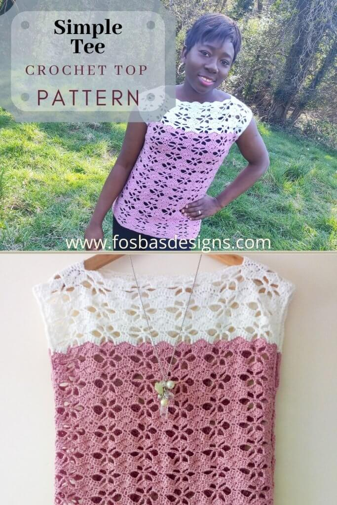 Easy Crochet Tee Pattern, size inclusive summer top pattern.