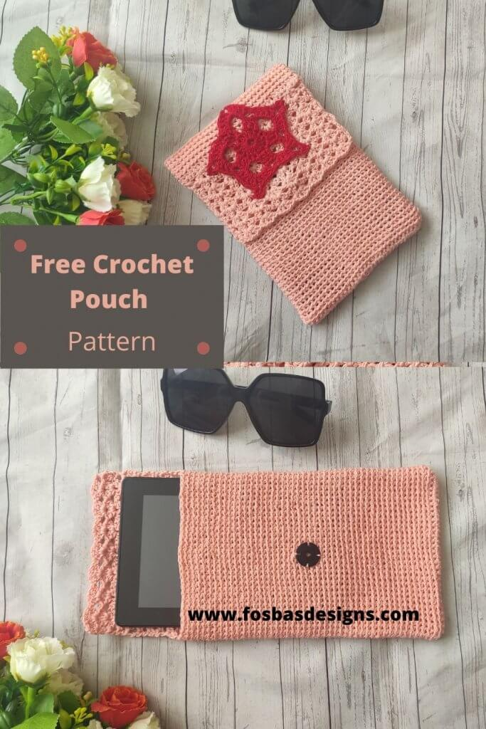 Free Crochet Pouch Pattern that can easily be customized to fit your needs. This cute pattern can be made into a clutch or into a big bag.