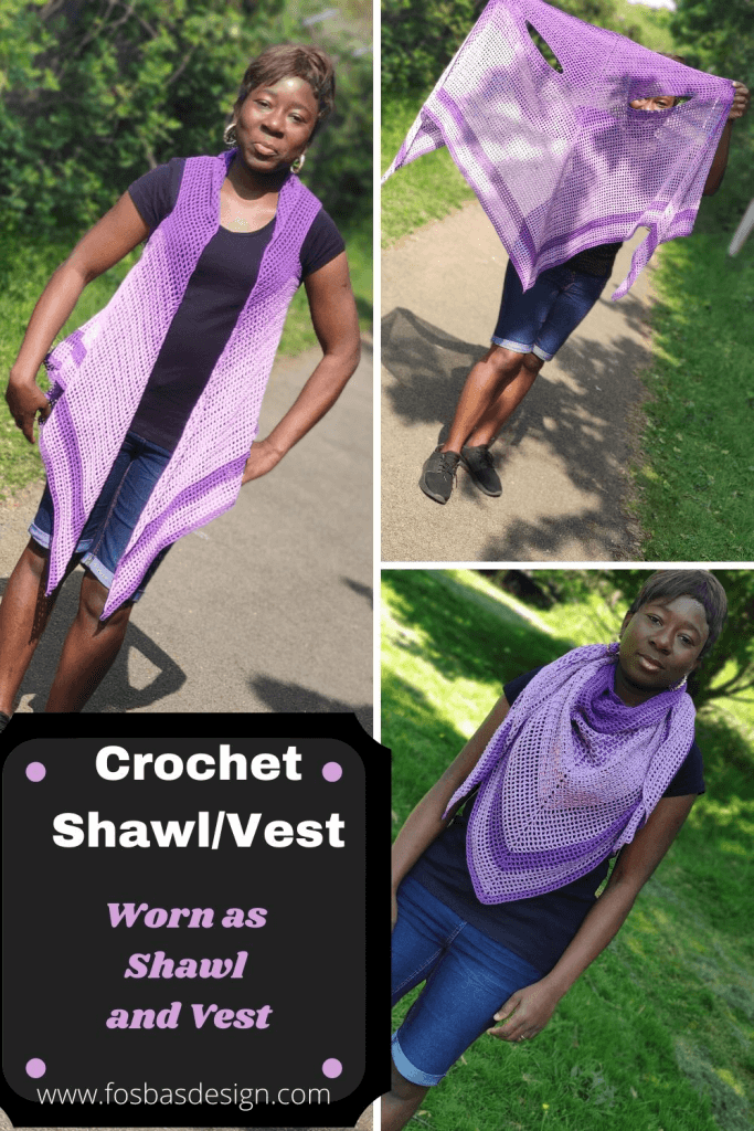 A versatile crochet pattern that can be styled as a vest or as a Shawl.  No sewing needed, pattern is easy to make  to fit you and can be made into any length of choice. This crochet #shawlpattern can be made using #2 weight of yarn in color(s) of your choice.