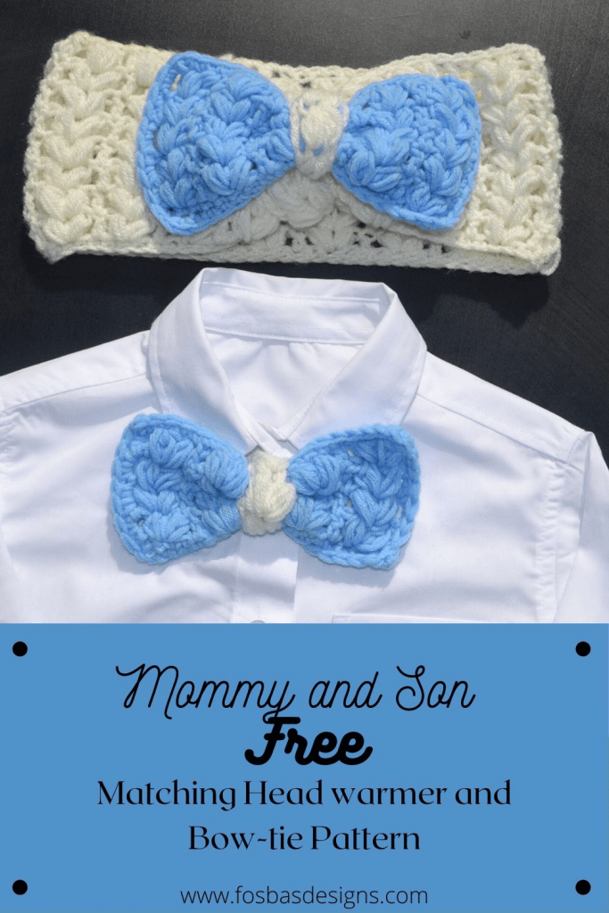 Mommy and me matching set, free crochet ear warmer and Bow tie Pattern.