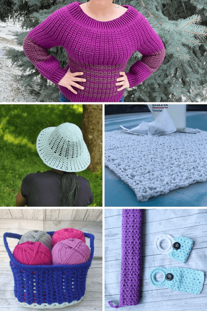 Crochet patterns using double crochet cluster stitch.