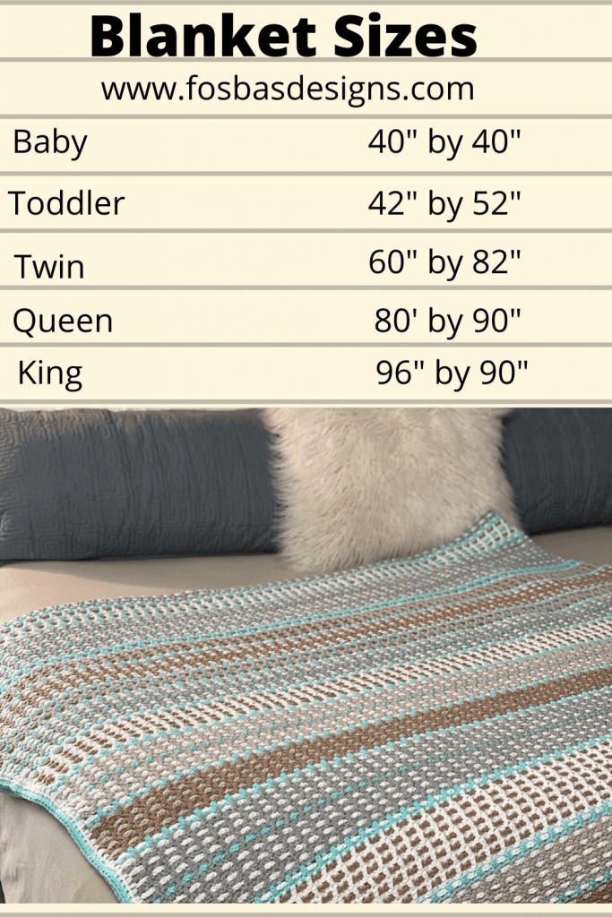 Blanket Size Chart for Baby, Toddler, Twin, Queen, King sizes.