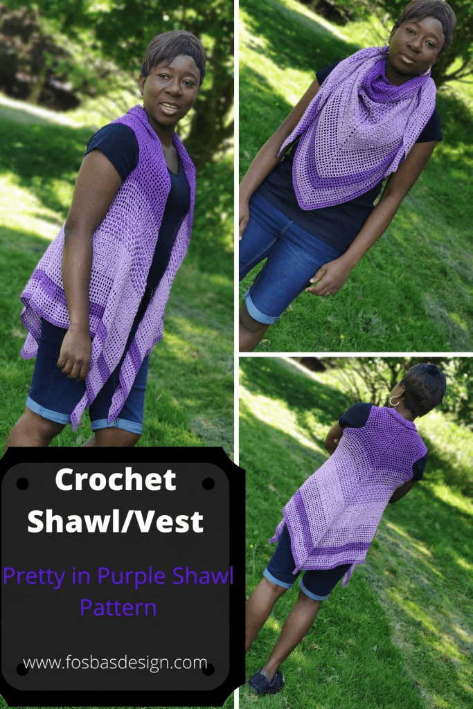 Easy Crochet Pattern worn as a Vest and also as a Shawl. Pattern is easily  adjustable to fit any size.  This shawl is written for 9 different sizes. #crochetshawl #Crochetsummershawl #crochetvestpattern