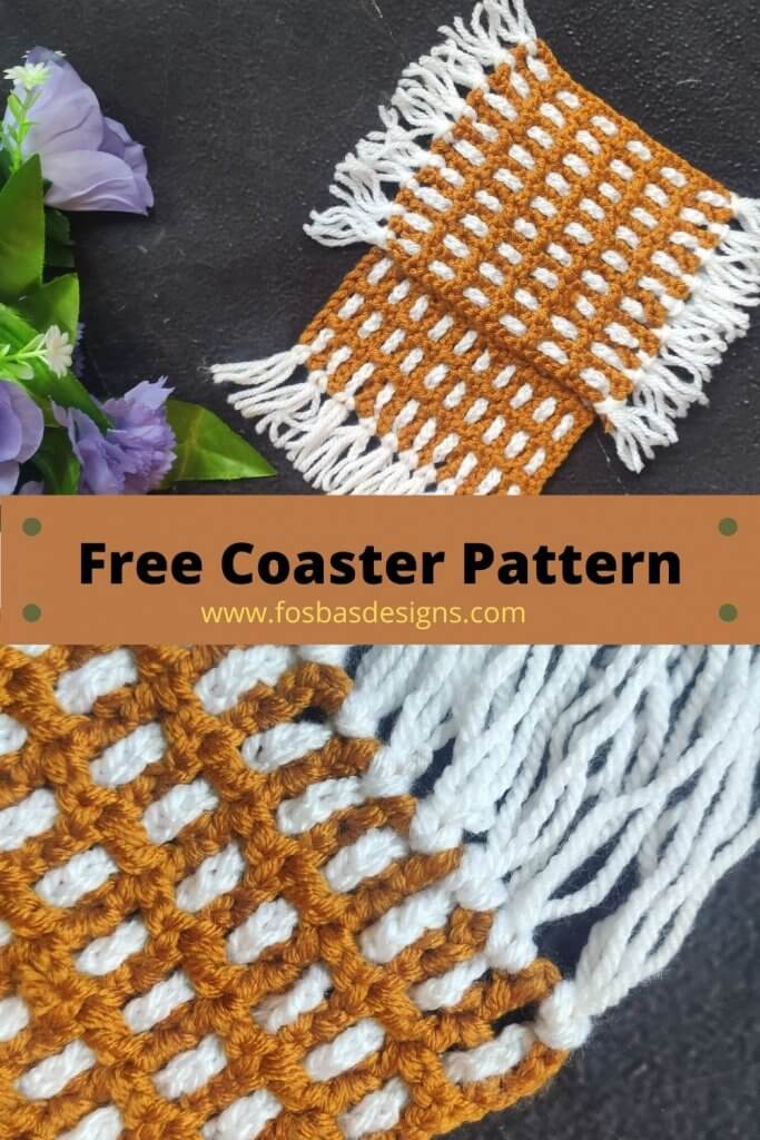 Free Crochet Coaster pattern with step by step picture Tutorials