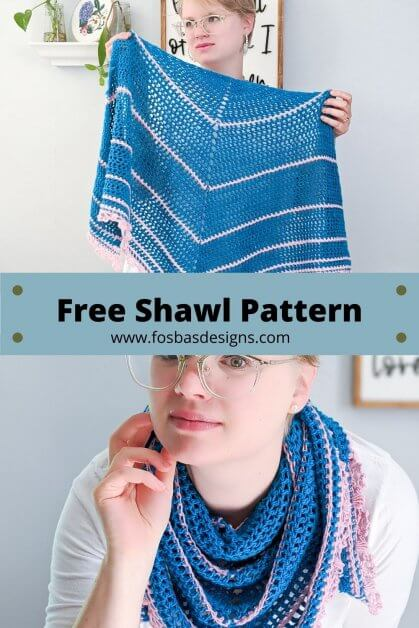 A free Shawl Pattern Constructed in a classic triangle design, the Misawa Shawl works up so quickly, you could make it on a weekend! The pattern includes a full picture tutorial for the delicate lace edging that reminds of the cherry blossom buds and petals. This must make pattern perfectly bridges the gap between beginner and intermediate skills and can be made by any crocheter. #freecrochetshawl #summervibes #easyshawlpattern