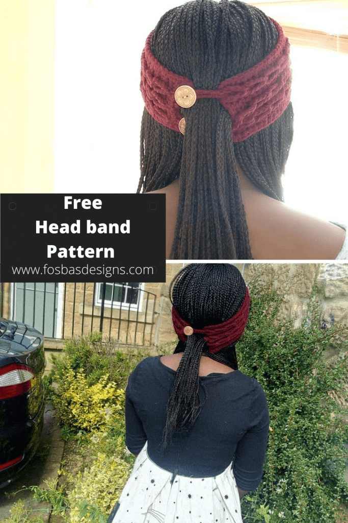 Free Crochet Headband Pattern with Ponytail opening  for Toddlers through Adult sizes.