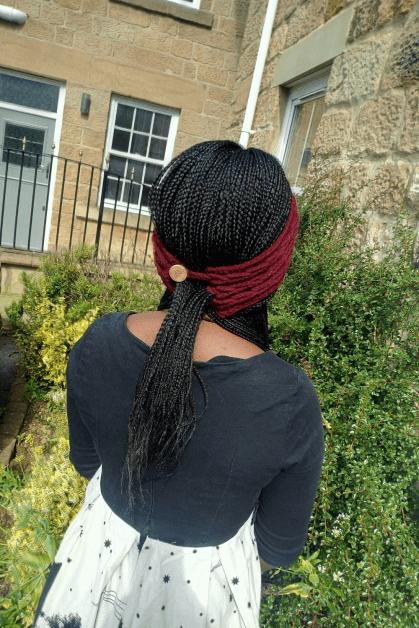 Crochet headband pattern: with ponytail Opening