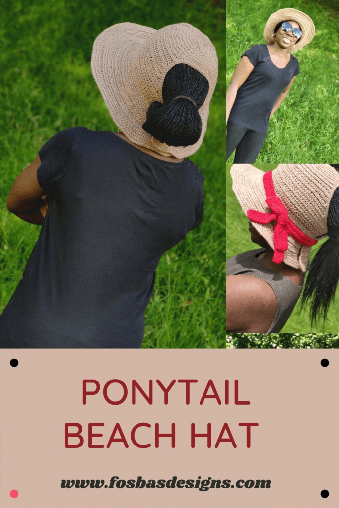 Crochet Ponytail Hat Pattern perfect for days in the sun. This easy crochet pattern is written in 4 different sizes.  #crochethat #crochetsunhatpatterns #brimhatpattern #summercrochetpatterns
