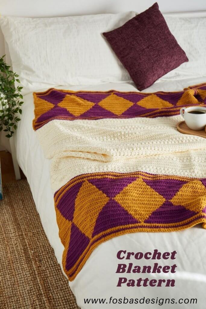 Easy Crochet Blanket pattern to make on your relaxing weekend. Using your chunky yarn and 6 mm hook. Have fun making this #easycrochetblanket #pattern for yourself or friends.
