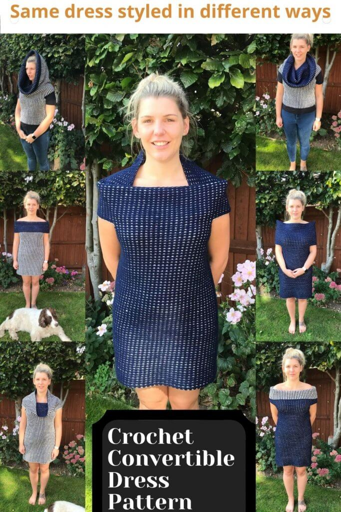 Use the crochet reversible stitch for this beautiful crochet dress styled as a top, cowl dress. The list is endless.