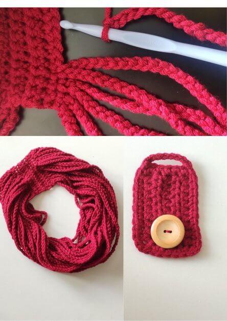 Steps in making crochet cowl/necklace pattern