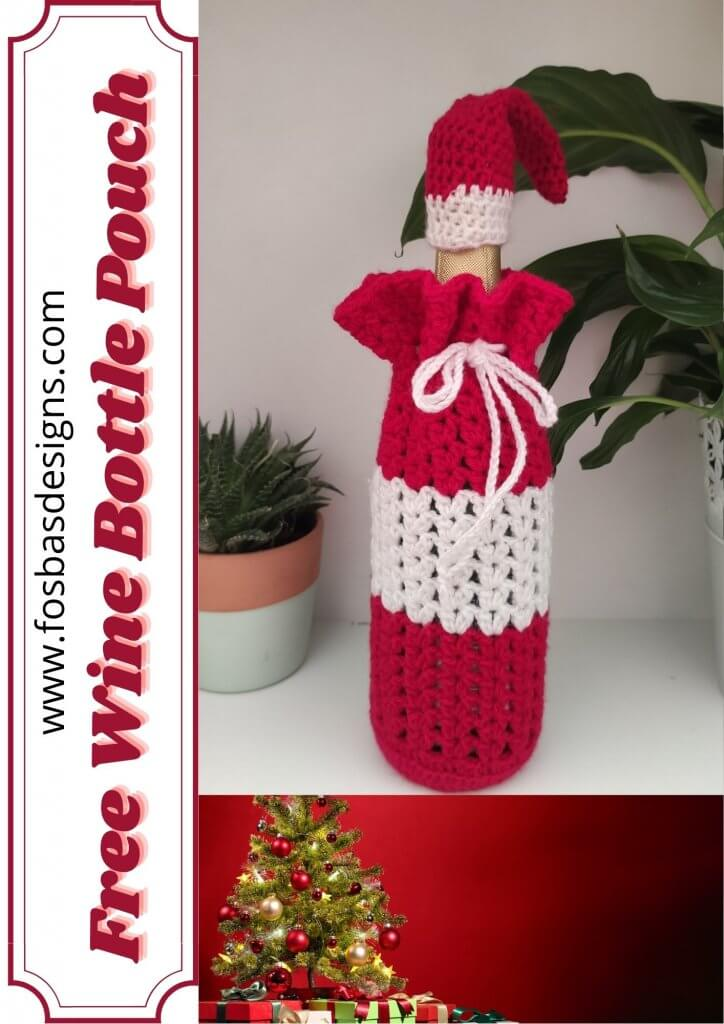 Easy Crochet Wine Bottle Pouch pattern.
