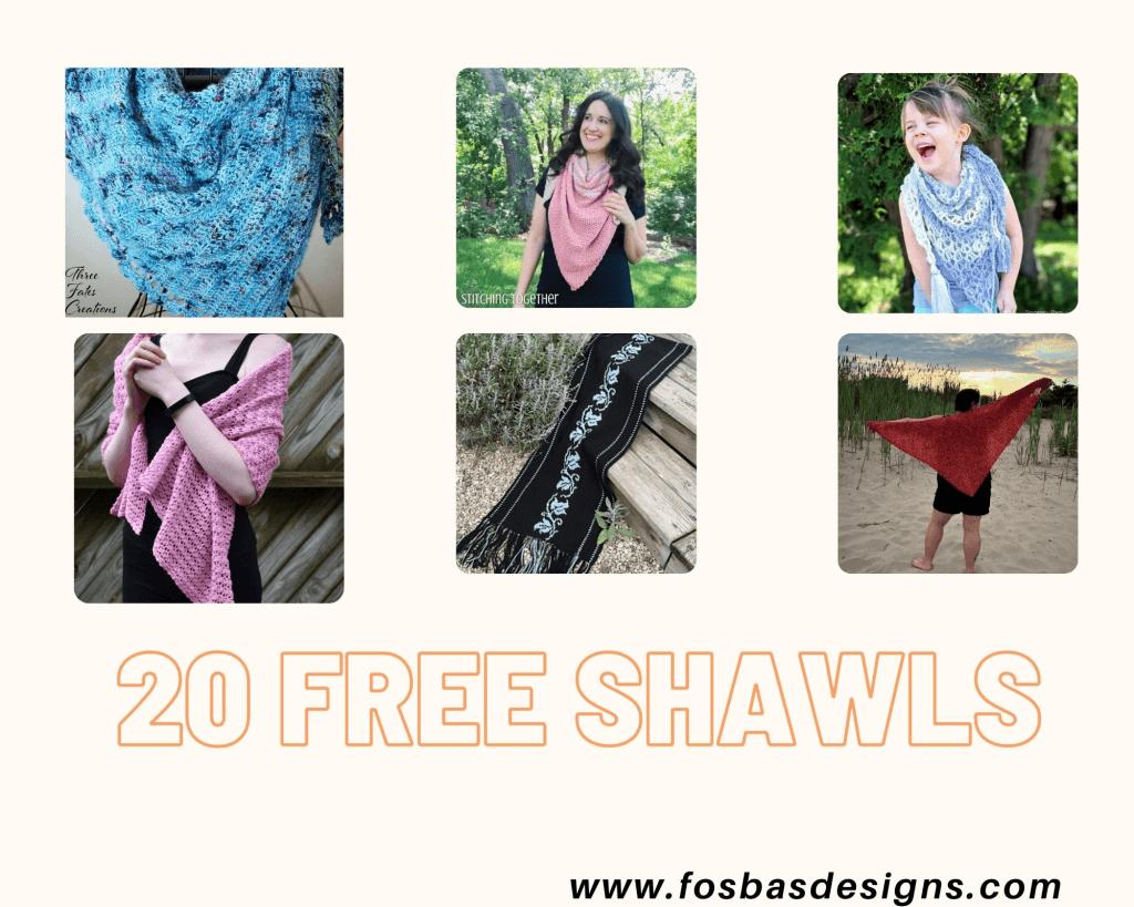 20 Free Crochet Shawls to make this fall using your best yarns. #crochetshawl #easy crochetshawlpattern