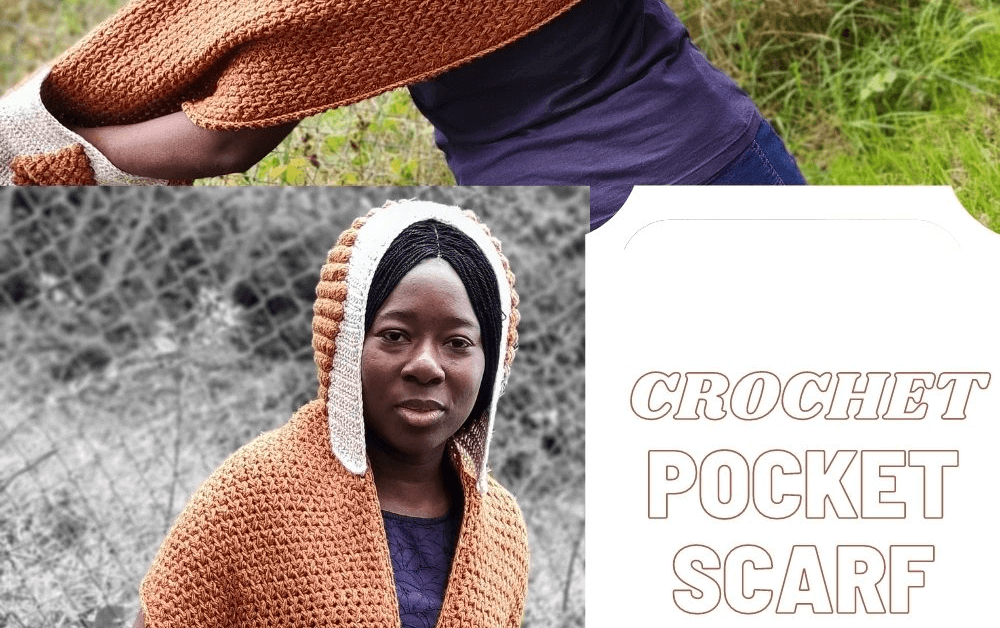 Crochet Pocket Scarf with detachable Hood