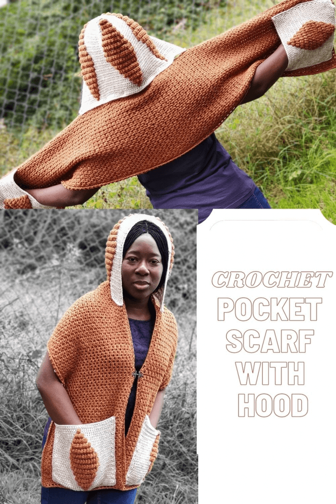 Crochet Pocket Scarf Pattern with detachable Hood.