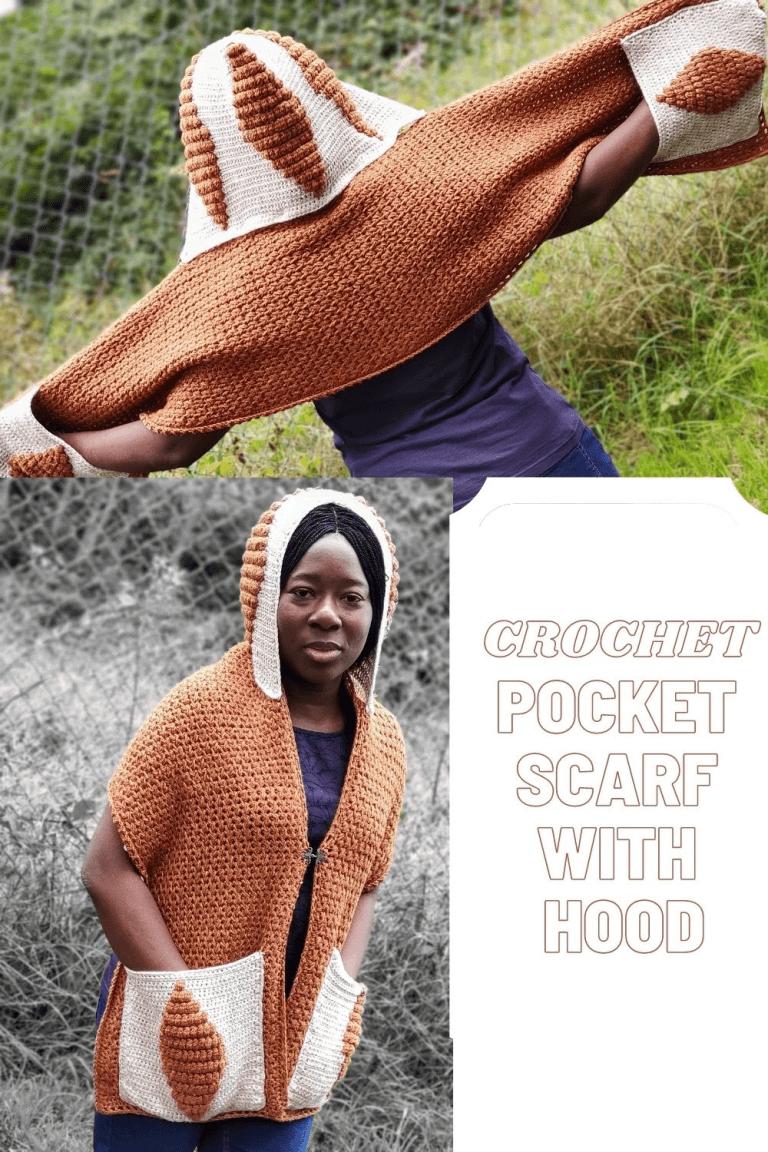 Crochet Pocket Scarf with detachable Hood