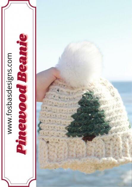 Crochet beanie pattern - Pinewood Christmas hat as part of 40 quick gift ideas blog hop.