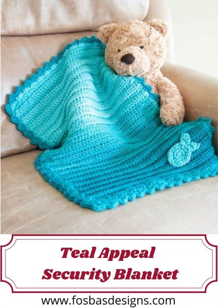 Crochet Teal Appeal Ombre Security Blanket