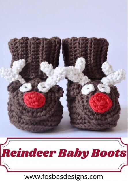 Crochet reindeer boot pattern
