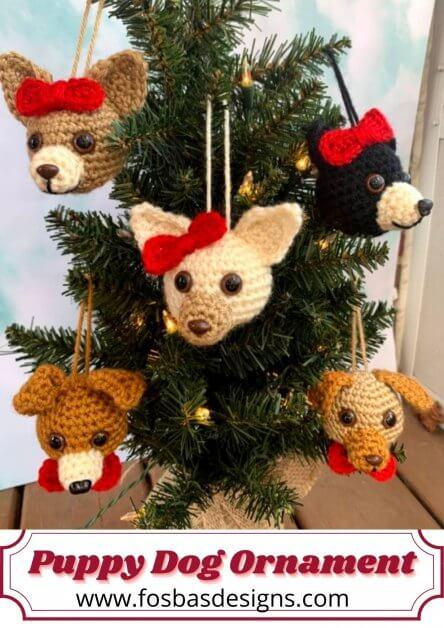 Crochet Puppy Dog Ornament pattern.