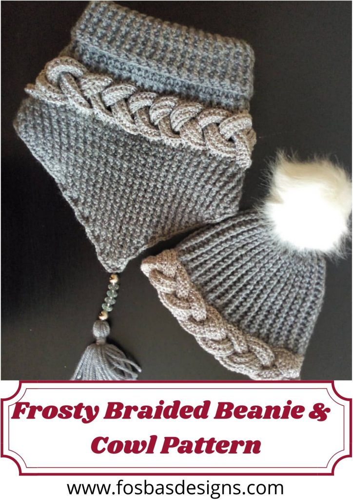 Crochet frosty braided Beanie and Cowl pattern