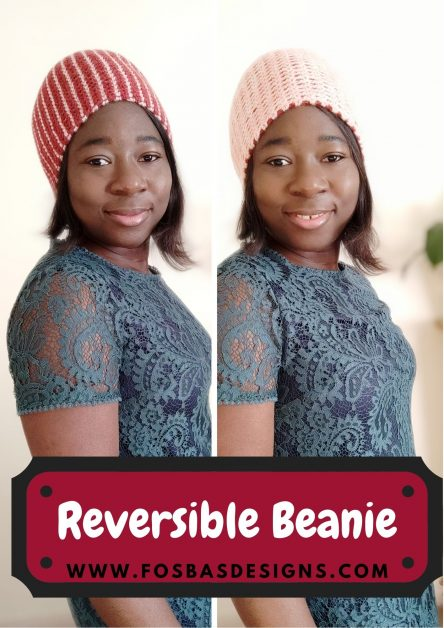 Crochet reversible beanie pattern styled in 4 different ways.