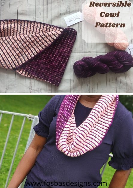 Crochet Cowl pattern styled in 2 different ways