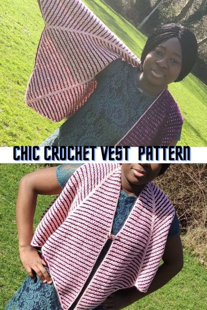 Crochet Reversible Shawl styled as a vest
