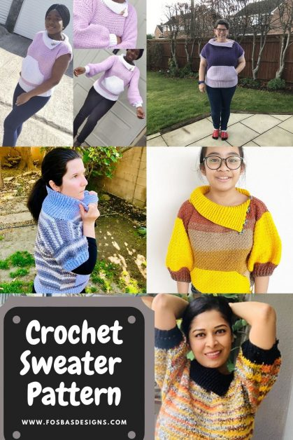 Easy crochet Sweater Pattern with different sleeve length options