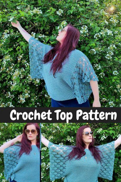 Wide sleeve crochet top pattern
