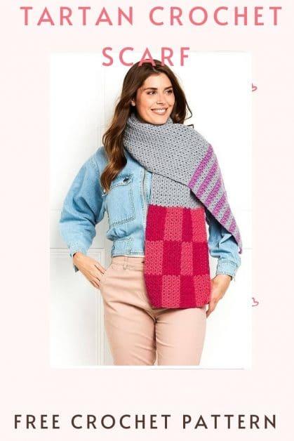 Tartan crochet Scarf pattern