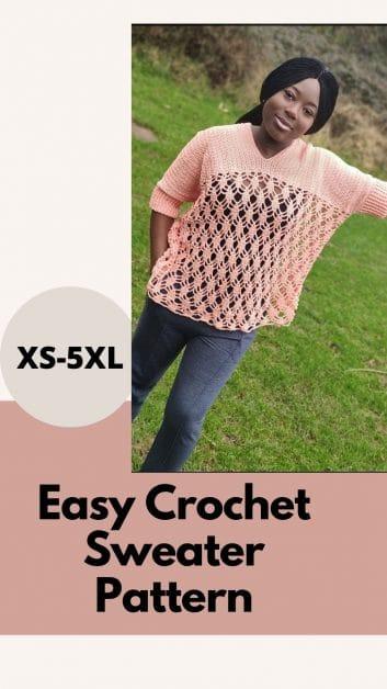 Easy crochet oversized sweater pattern